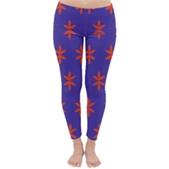Flower Floral Different Colours Purple Orange Classic Winter Leggings