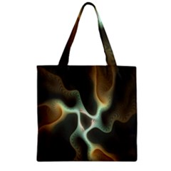 Colorful Fractal Background Zipper Grocery Tote Bag by Simbadda