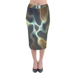 Colorful Fractal Background Velvet Midi Pencil Skirt by Simbadda