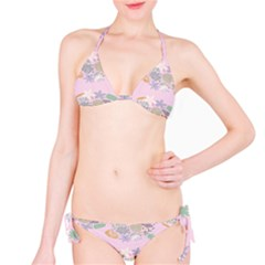 Floral Flower Rose Sunflower Star Leaf Pink Green Blue Bikini Set