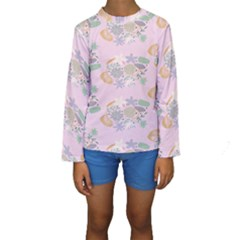 Floral Flower Rose Sunflower Star Leaf Pink Green Blue Kids  Long Sleeve Swimwear