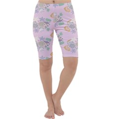 Floral Flower Rose Sunflower Star Leaf Pink Green Blue Cropped Leggings