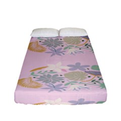 Floral Flower Rose Sunflower Star Leaf Pink Green Blue Fitted Sheet (full/ Double Size)
