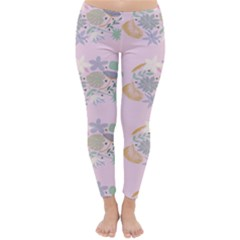 Floral Flower Rose Sunflower Star Leaf Pink Green Blue Classic Winter Leggings