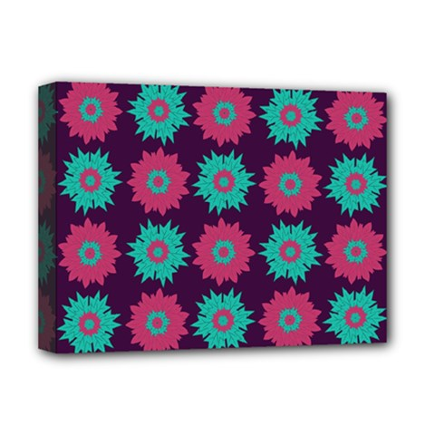 Flower Floral Rose Sunflower Purple Blue Deluxe Canvas 16  X 12   by Alisyart