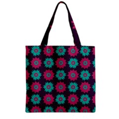 Flower Floral Rose Sunflower Purple Blue Grocery Tote Bag by Alisyart
