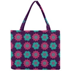 Flower Floral Rose Sunflower Purple Blue Mini Tote Bag by Alisyart