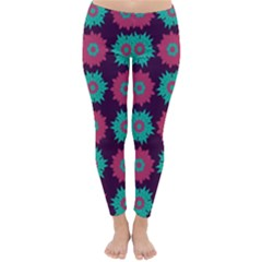 Flower Floral Rose Sunflower Purple Blue Classic Winter Leggings