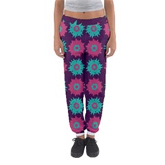 Flower Floral Rose Sunflower Purple Blue Women s Jogger Sweatpants by Alisyart