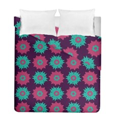 Flower Floral Rose Sunflower Purple Blue Duvet Cover Double Side (full/ Double Size) by Alisyart