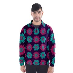 Flower Floral Rose Sunflower Purple Blue Wind Breaker (men) by Alisyart