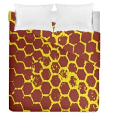 Network Grid Pattern Background Structure Yellow Duvet Cover Double Side (queen Size) by Simbadda
