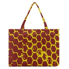 Network Grid Pattern Background Structure Yellow Medium Zipper Tote Bag