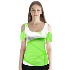 Fruit Lime Green Butterfly Sleeve Cutout Tee
