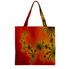 Decorative Fractal Spiral Zipper Grocery Tote Bag