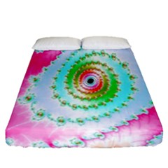 Decorative Fractal Spiral Fitted Sheet (queen Size)