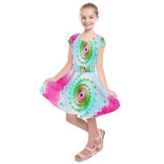 Decorative Fractal Spiral Kids  Short Sleeve Dress by Simbadda