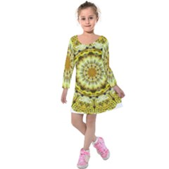 Fractal Flower Kids  Long Sleeve Velvet Dress