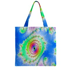 Decorative Fractal Spiral Zipper Grocery Tote Bag by Simbadda