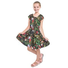 Colorful Abstract Background Kids  Short Sleeve Dress by Simbadda