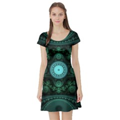 Grand Julian Fractal Short Sleeve Skater Dress by Simbadda
