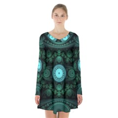 Grand Julian Fractal Long Sleeve Velvet V Neck Dress