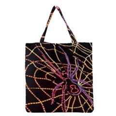 Black Widow Spider, Yellow Web Grocery Tote Bag by Simbadda