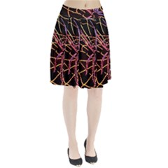 Black Widow Spider, Yellow Web Pleated Skirt