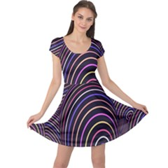 Abstract Colorful Spheres Cap Sleeve Dresses