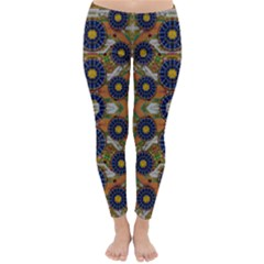 Fleur Flower Porcelaine In Calm Classic Winter Leggings by pepitasart