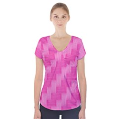 Pink Pattern Short Sleeve Front Detail Top by Valentinaart