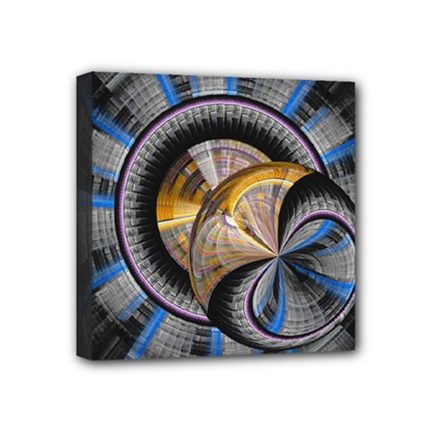 Fractal Tech Disc Background Mini Canvas 4  X 4  by Simbadda