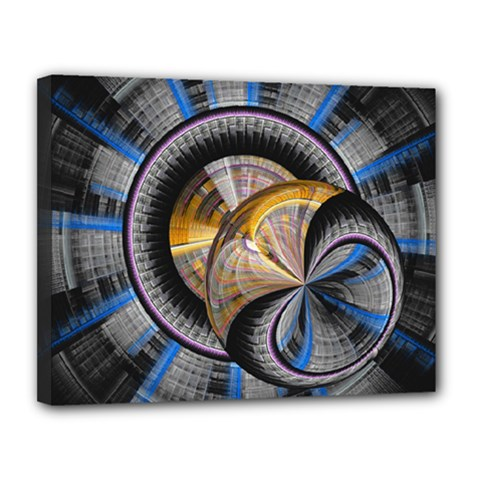 Fractal Tech Disc Background Canvas 14  X 11  by Simbadda