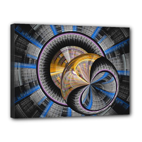 Fractal Tech Disc Background Canvas 16  X 12  by Simbadda