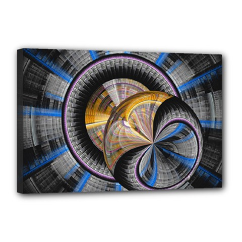 Fractal Tech Disc Background Canvas 18  X 12  by Simbadda