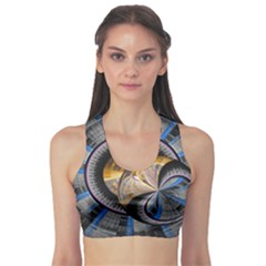 Fractal Tech Disc Background Sports Bra by Simbadda