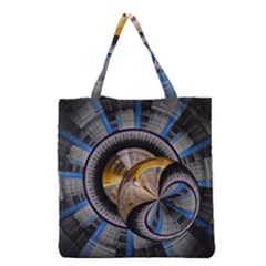 Fractal Tech Disc Background Grocery Tote Bag by Simbadda