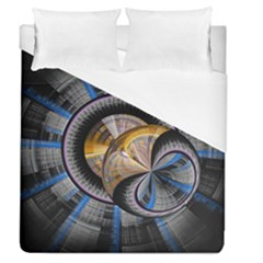 Fractal Tech Disc Background Duvet Cover (queen Size) by Simbadda