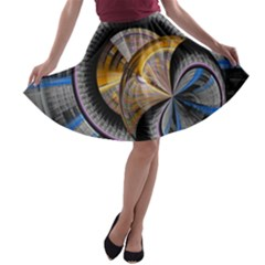 Fractal Tech Disc Background A Line Skater Skirt by Simbadda