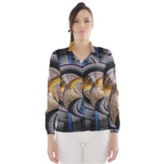 Fractal Tech Disc Background Wind Breaker (women) by Simbadda