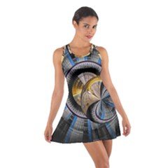 Fractal Tech Disc Background Cotton Racerback Dress by Simbadda