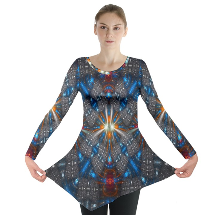 Fancy Fractal Pattern Long Sleeve Tunic