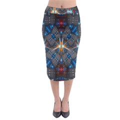 Fancy Fractal Pattern Midi Pencil Skirt by Simbadda