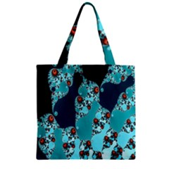 Decorative Fractal Background Zipper Grocery Tote Bag by Simbadda