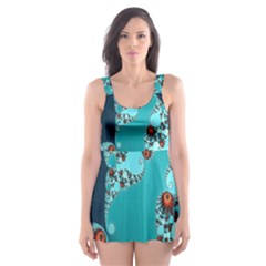 Decorative Fractal Background Skater Dress Swimsuit