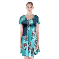 Decorative Fractal Background Short Sleeve V Neck Flare Dress