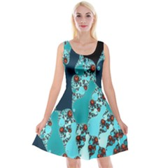 Decorative Fractal Background Reversible Velvet Sleeveless Dress
