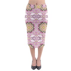 Floral Pattern Seamless Wallpaper Midi Pencil Skirt by Simbadda