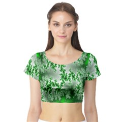 Green Fractal Background Short Sleeve Crop Top (tight Fit) by Simbadda