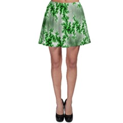 Green Fractal Background Skater Skirt by Simbadda